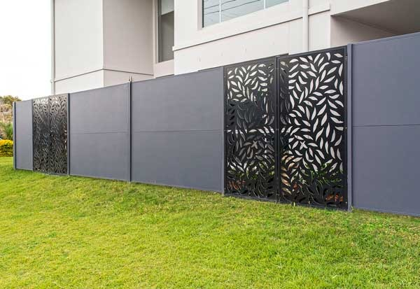 Laser Cut Metal Panels with Render Fence Dog Gone Fencing