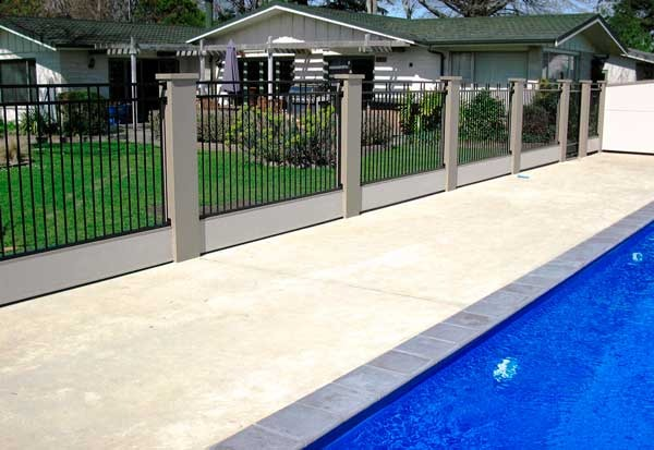 Aluminium Pool Fence with Render Posts Dog Gone Fencing