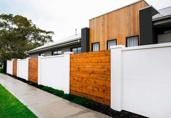 Timber Panel With Rendered Wall Dog Gone Fencing
